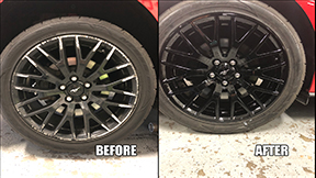 repaired and painted black rims