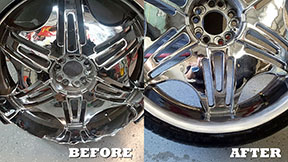 A repaired chromed tire rim